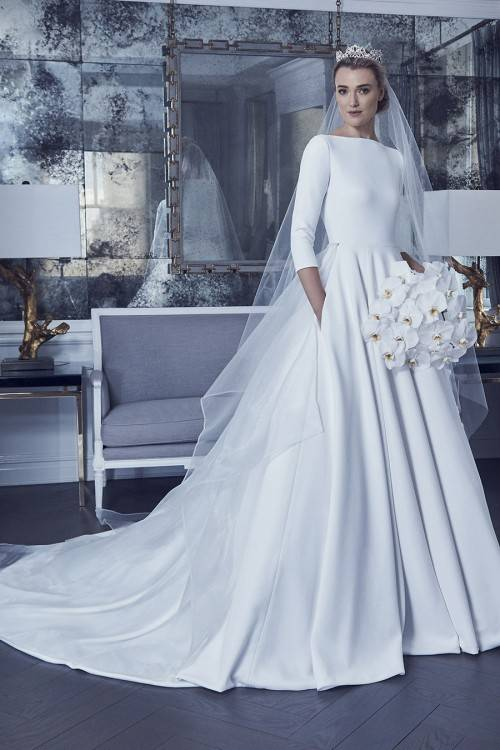 flutter sleeves sheer boat neck simple wedding dress 1