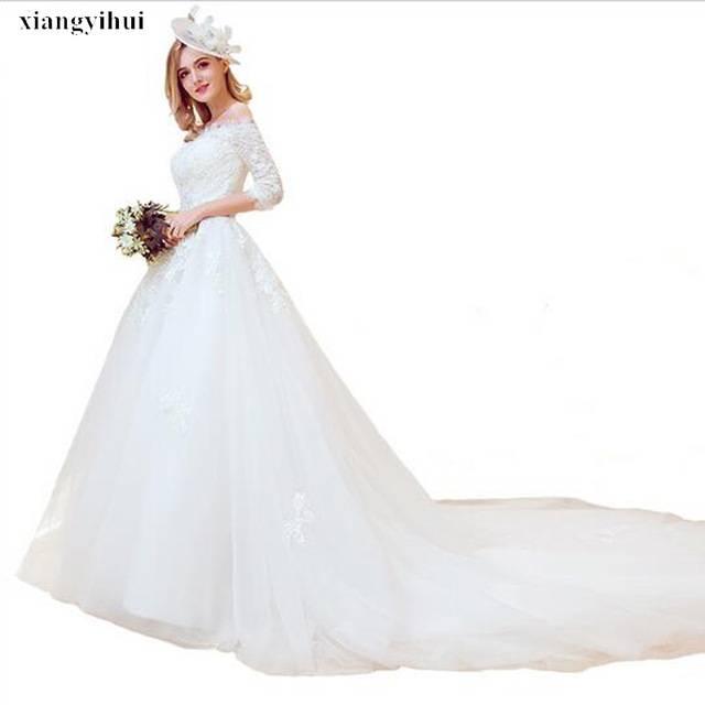 Vintage Lace Appliques Mermaid Wedding Dresses Boat Neck Long Sleeves  Beauty Romantic Wedding Bridal Gowns Plus Size Vestidos De Noiva Different  Style
