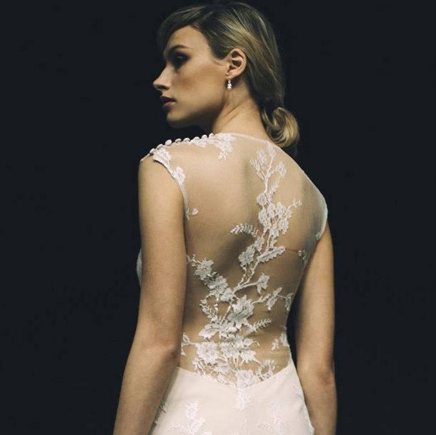 pA model on the runway at Marchesa's fall 2013 bridal show at Canoe  Studios