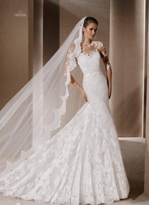 White One Spanish Lace 2 Piece Wedding Dress