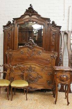 Exquisite French Antique Carved Walnut Louis XV Bedroom Set