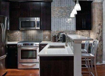 Beautiful Small Kitchen Ideas with Maple Espresso Cabinets